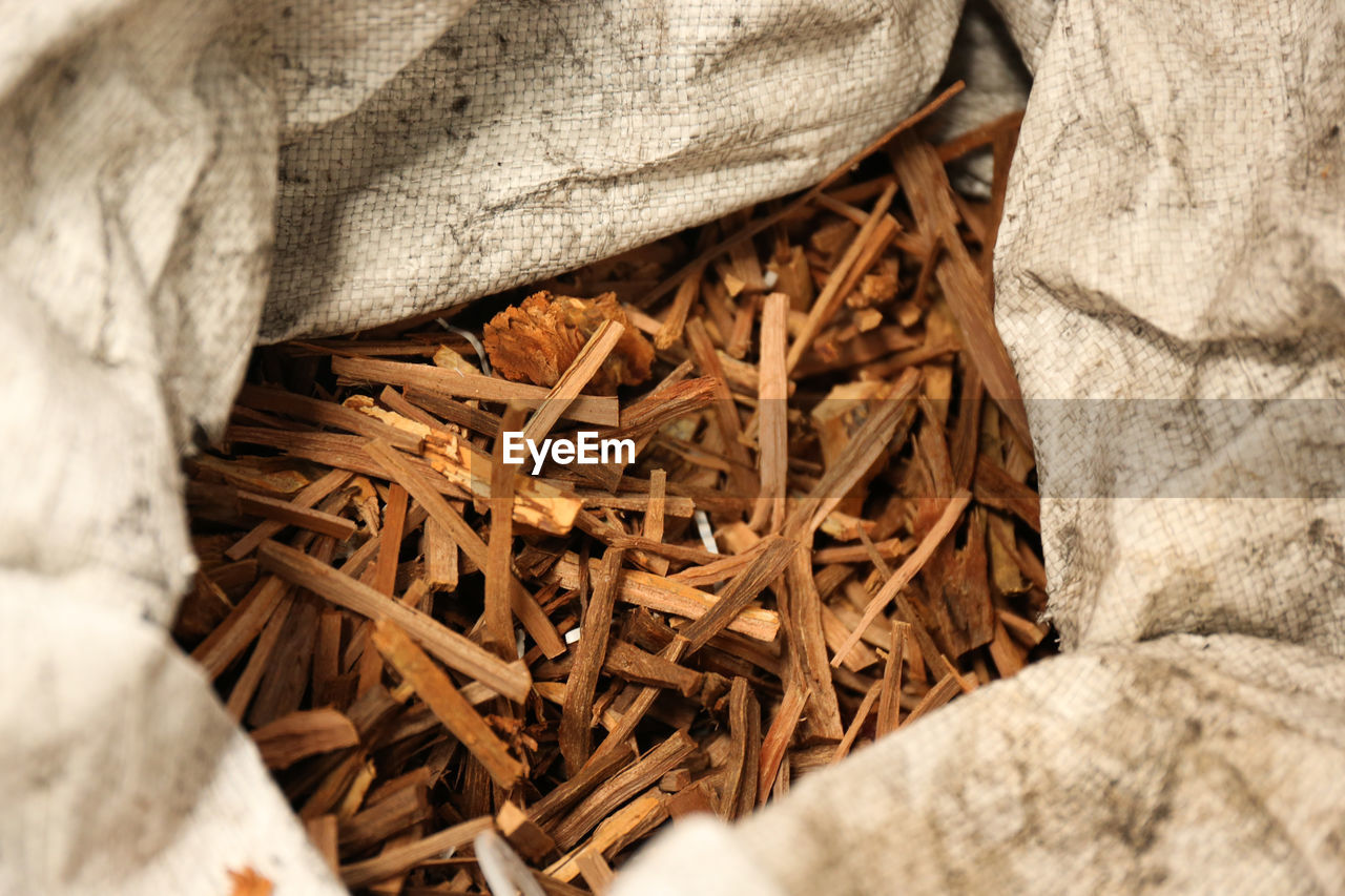 High Angle View Of Wood Chips In Sack