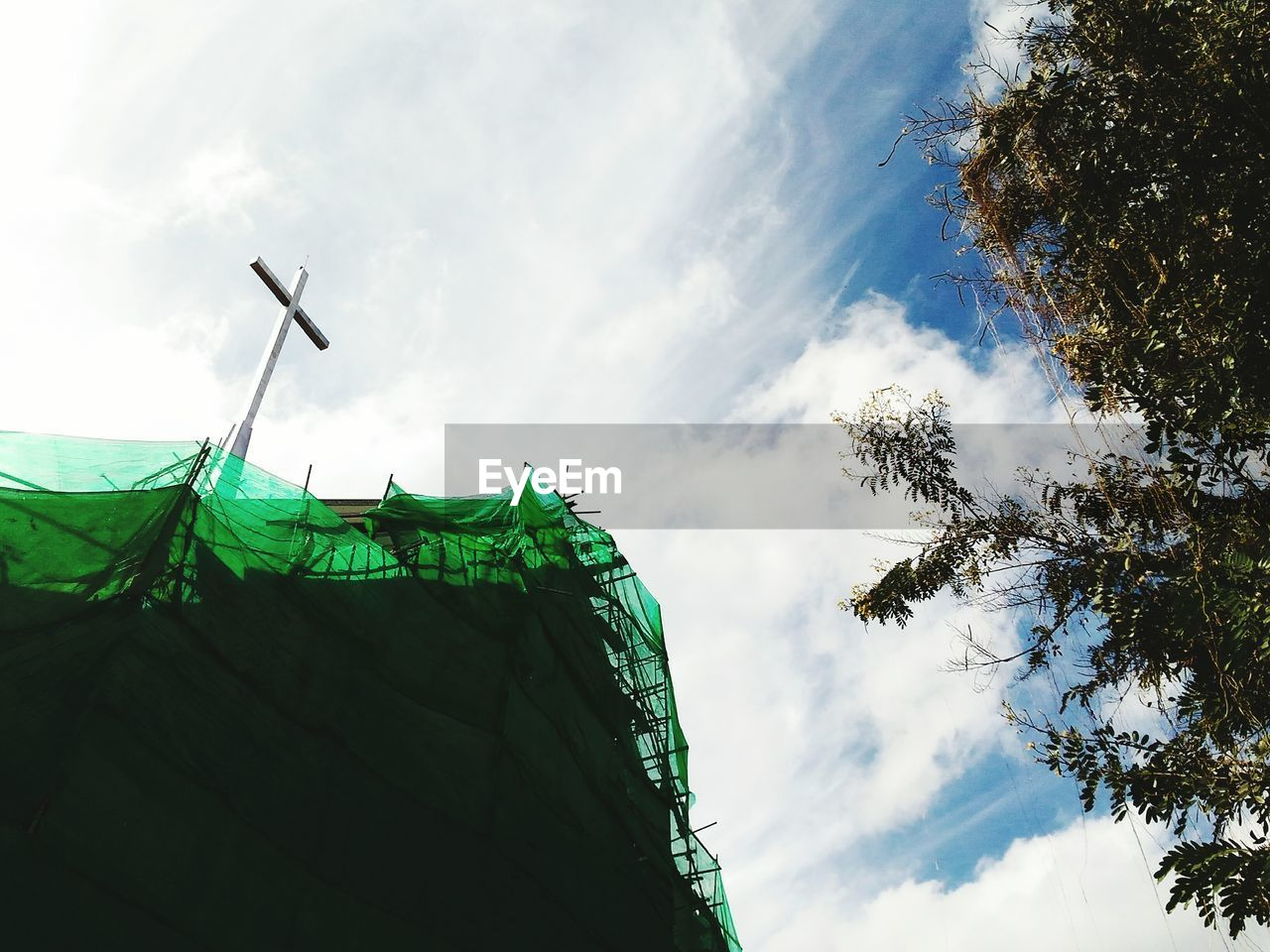 low angle view, sky, cloud - sky, no people, flag, day, outdoors, nature