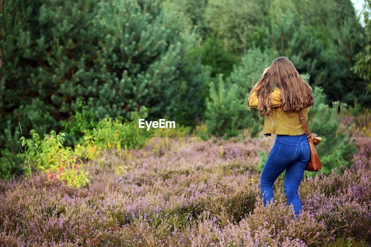 plant, one person, hairstyle, hair, land, flower, adult, nature, long hair, casual clothing, field, tree, rear view, women, flowering plant, growth, day, young adult, walking, beauty in nature, outdoors, jeans