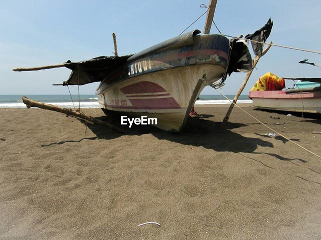 beach, sand, nautical vessel, transportation, sea, outdoors, no people, day, nature, sky