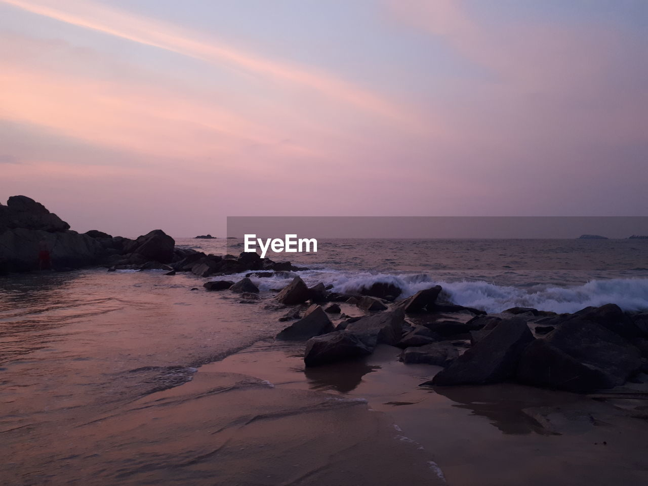 sky, water, sea, sunset, beauty in nature, scenics - nature, tranquility, rock, tranquil scene, horizon over water, horizon, land, beach, solid, rock - object, non-urban scene, cloud - sky, nature, idyllic, no people, outdoors
