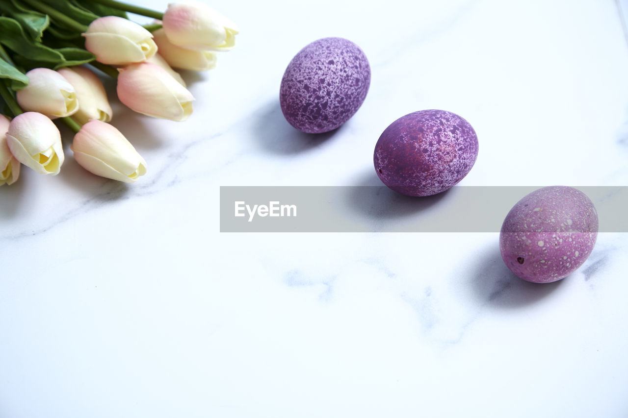 food, food and drink, freshness, still life, indoors, close-up, no people, studio shot, white background, wellbeing, table, high angle view, healthy eating, purple, white color, sweet food, multi colored, copy space, fruit, sweet, temptation