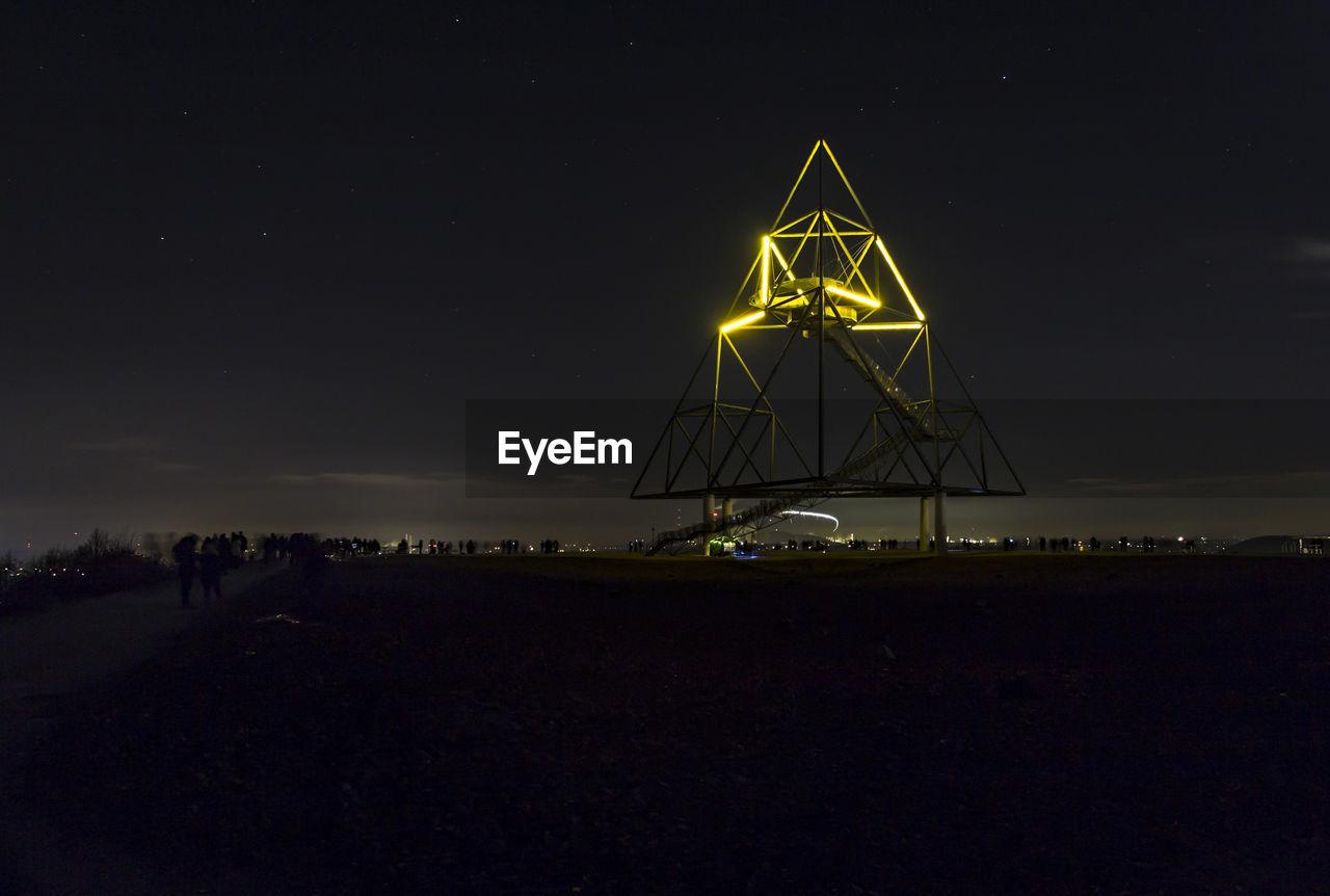 triangle shape, night, outdoors, sky, no people, nature
