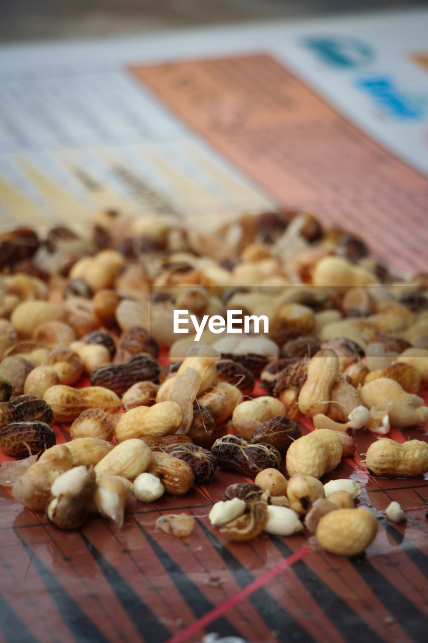 Close-up of peanuts on table