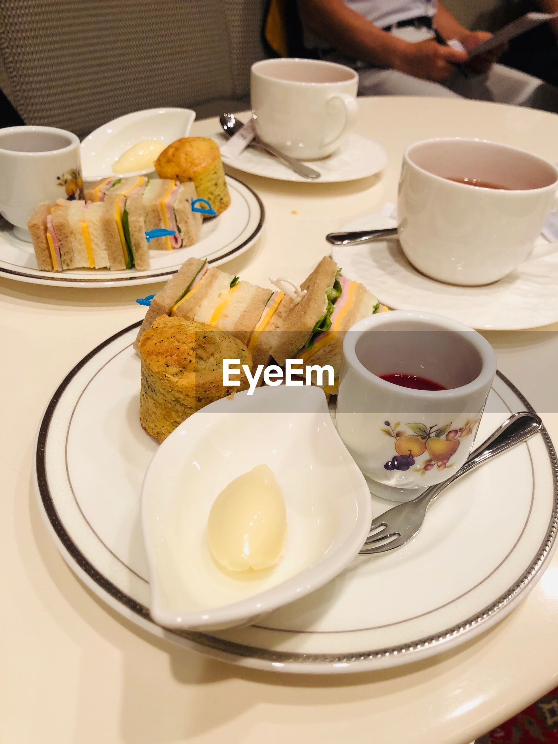 High angle view of afternoon tea on table