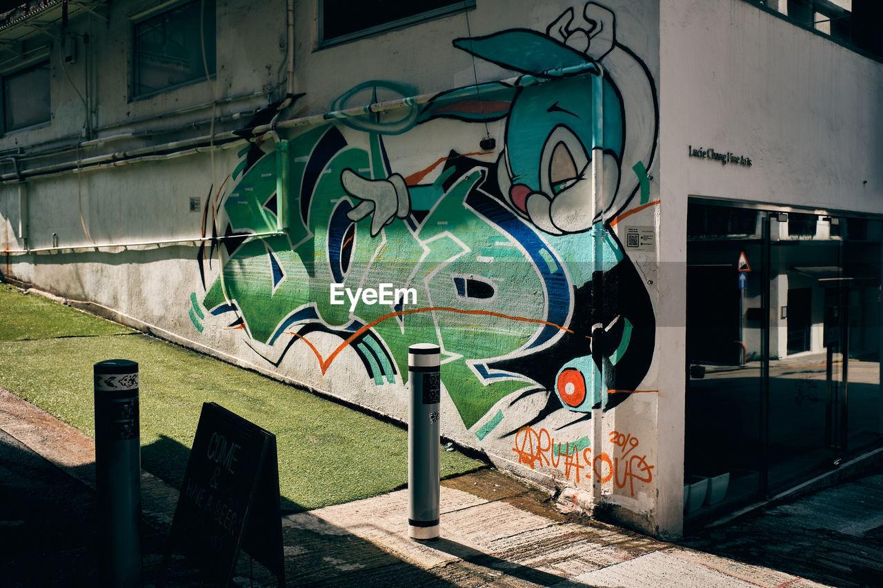 GRAFFITI ON WALL BY FOOTPATH