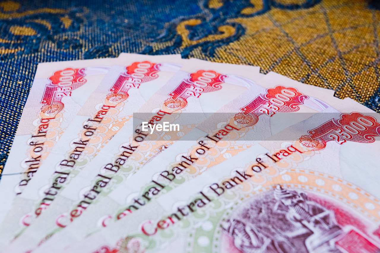 currency, paper currency, wealth, text, business, no people, close-up, finance, savings, still life, western script, indoors, communication, high angle view, backgrounds, multi colored, full frame, selective focus, blue, pattern