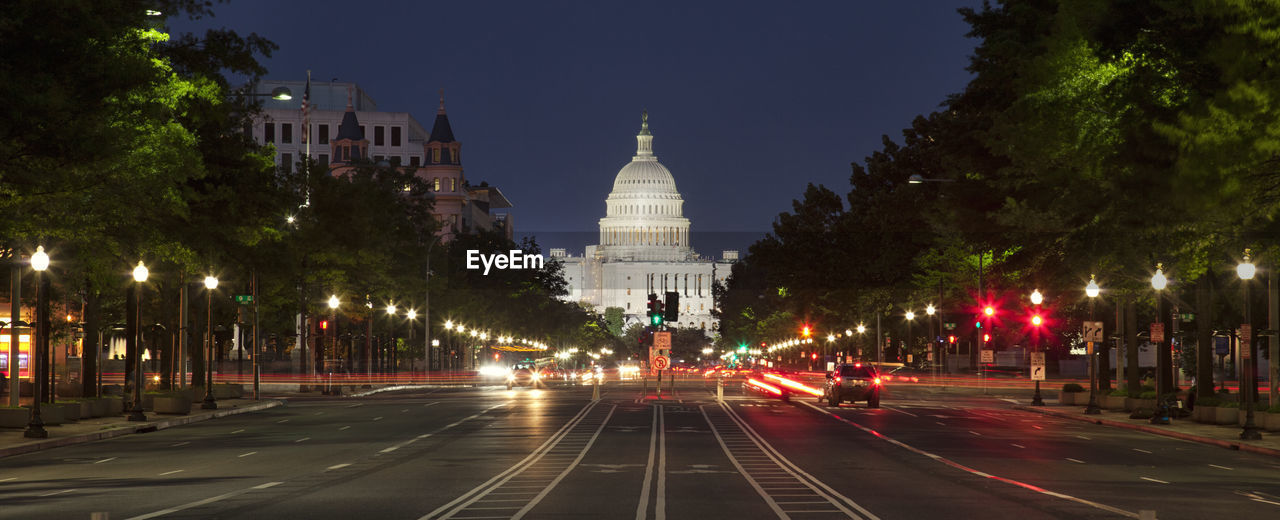 Street Leading Towards Capitol Building At Night