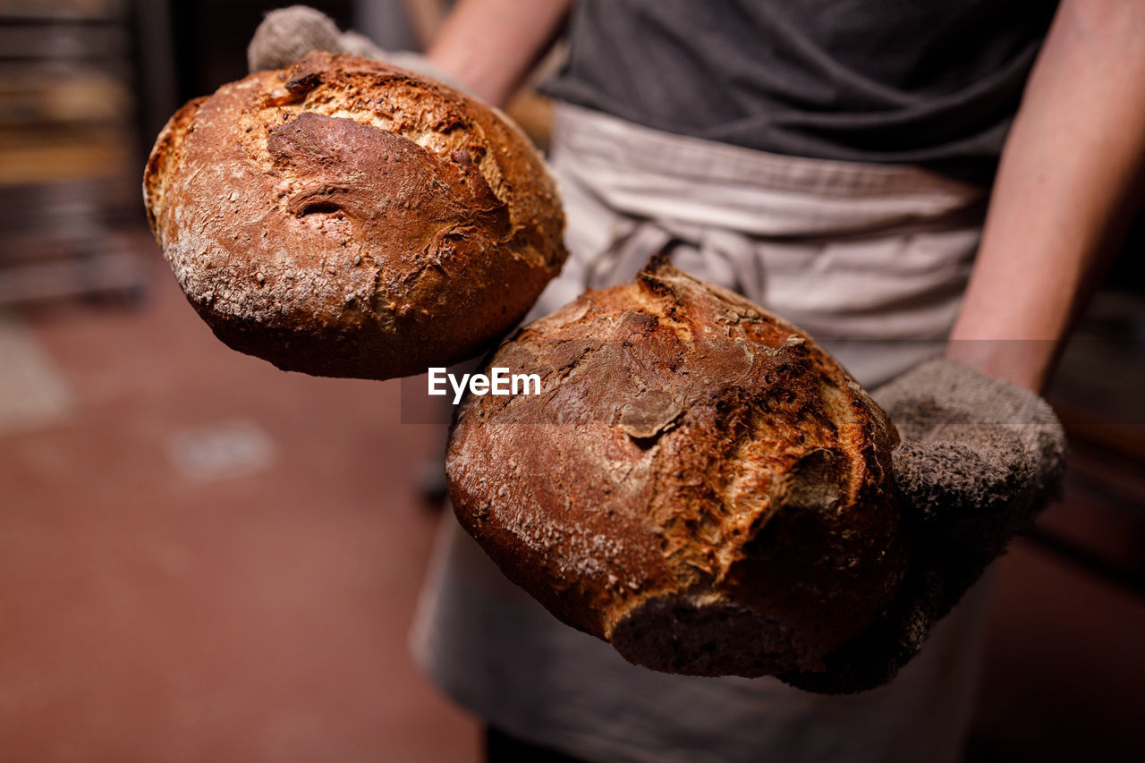 Close-up of hand holding 2 bread