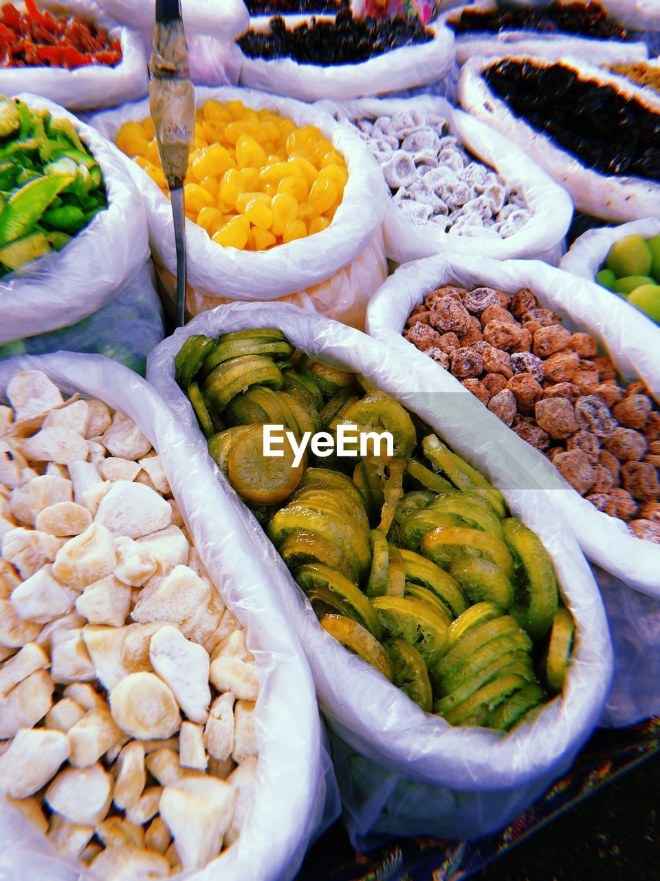 High angle view of various food for sale in market