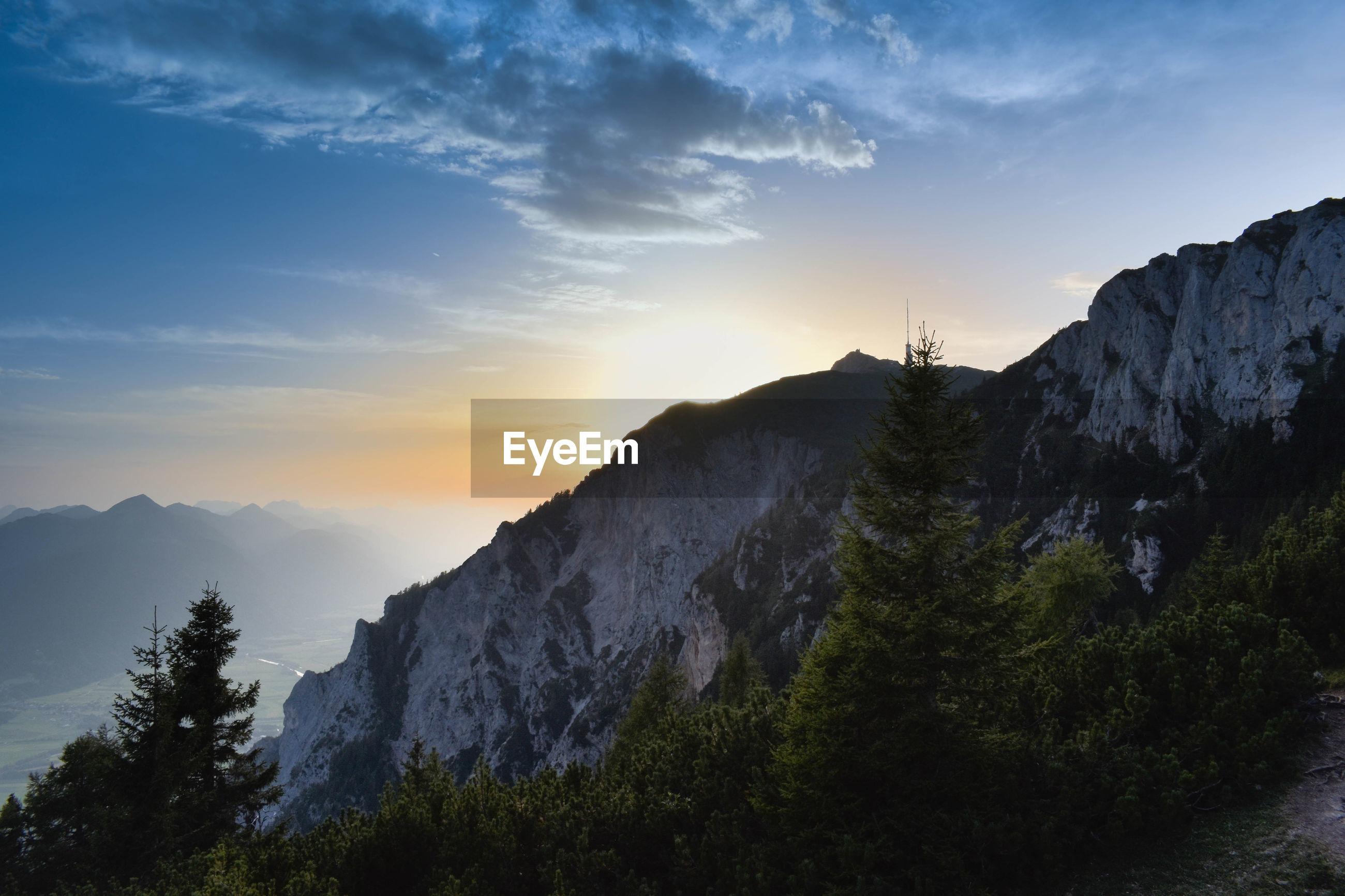 Mountain in sunset.