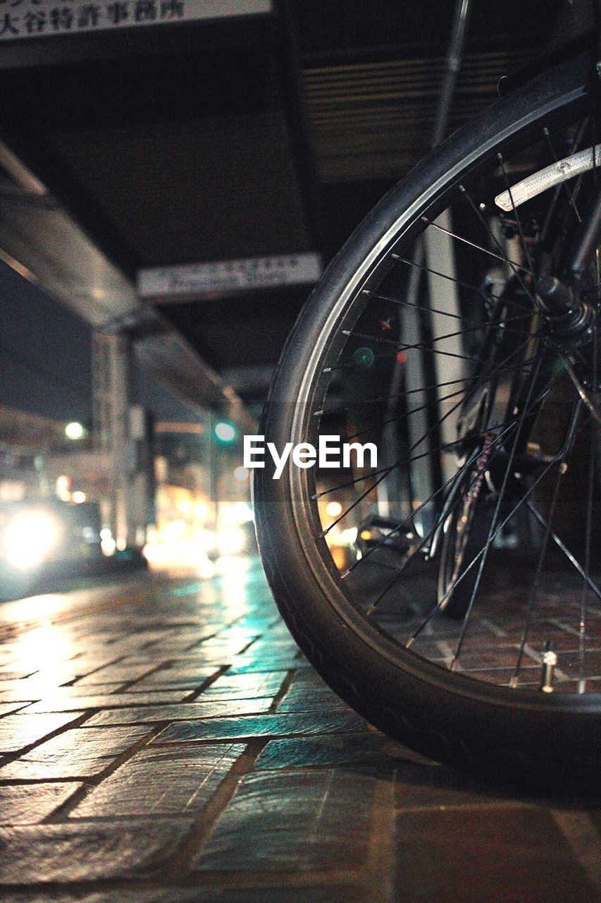 reflection, indoors, transportation, bicycle, close-up, no people, day