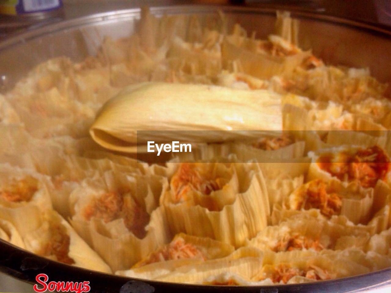 Close-up of tamales in plate