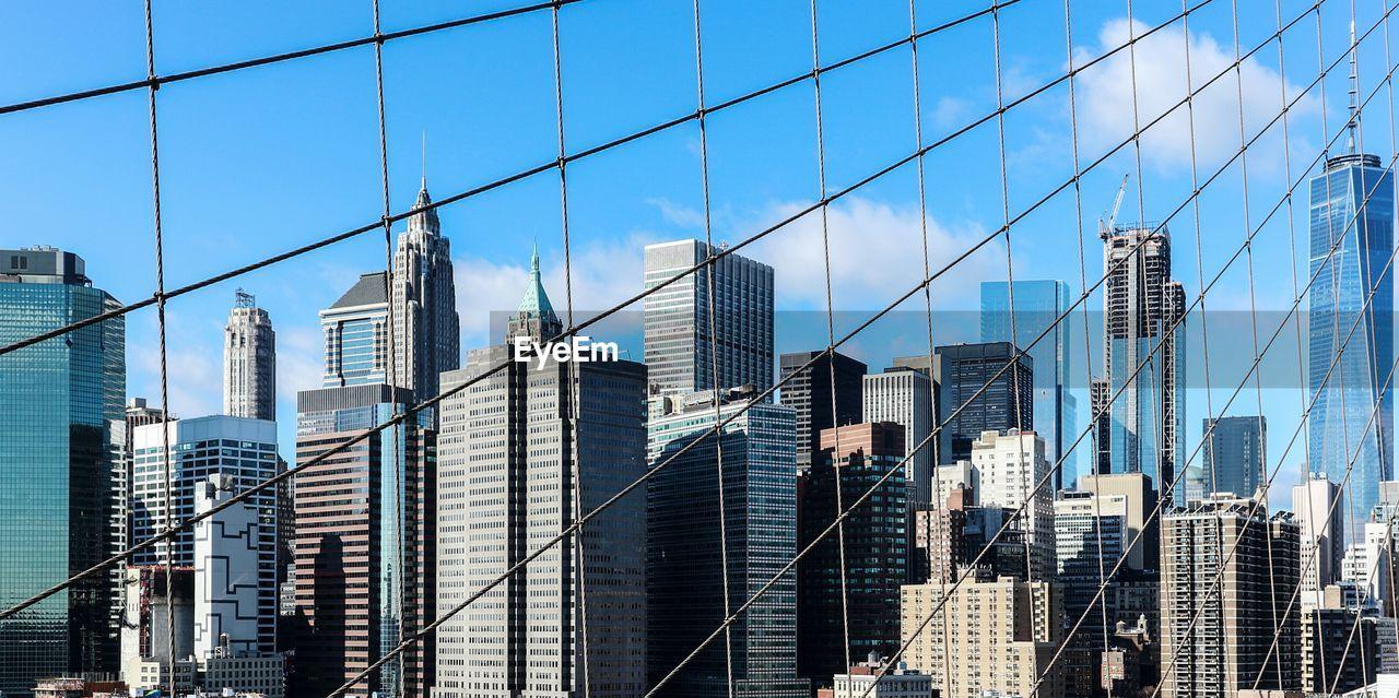 View Of New York Through Cable Bridge