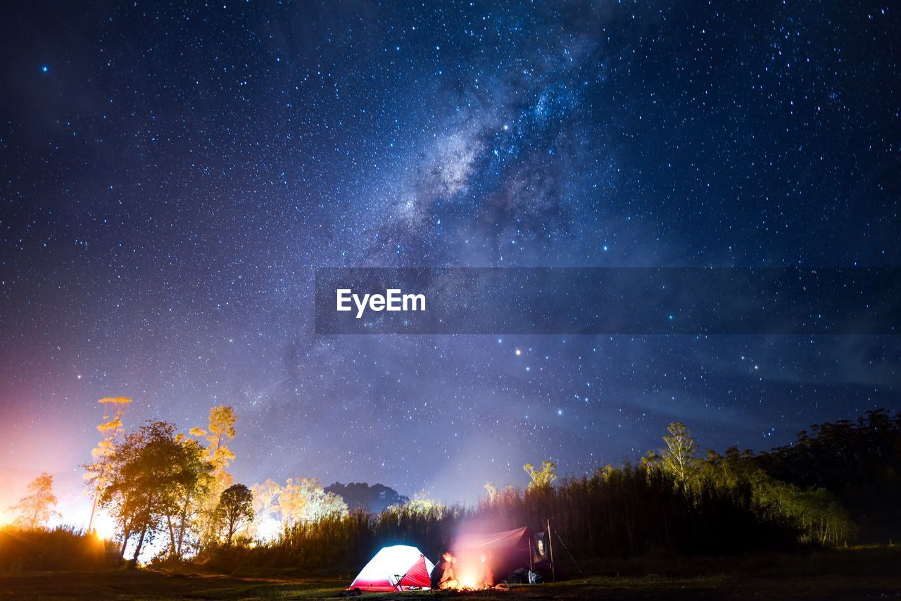 night, star - space, sky, space, tree, astronomy, galaxy, beauty in nature, scenics - nature, plant, nature, star, star field, land, tranquility, no people, illuminated, tranquil scene, tent, milky way, outdoors