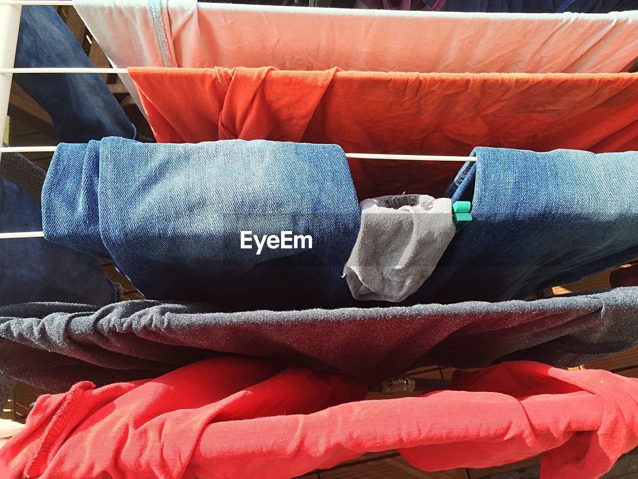 Directly above shot of clothes hanging on rope