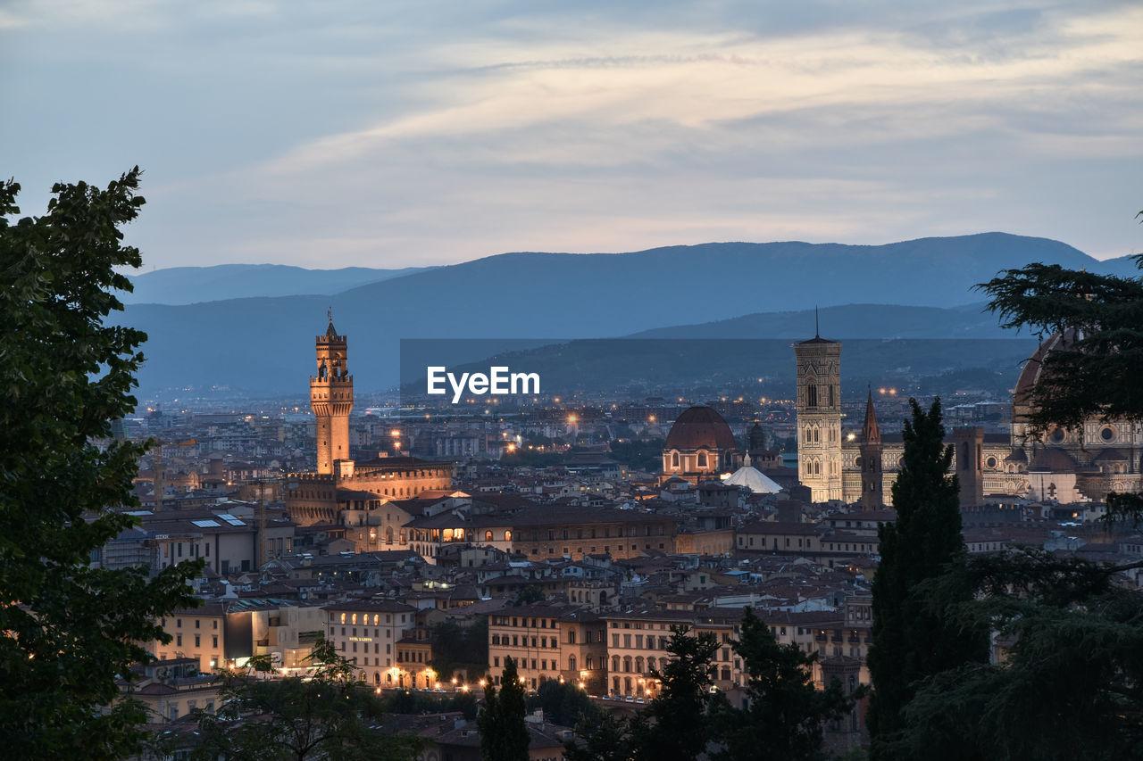 Duomo Santa Maria Del Fiore In Illuminated City During Sunset