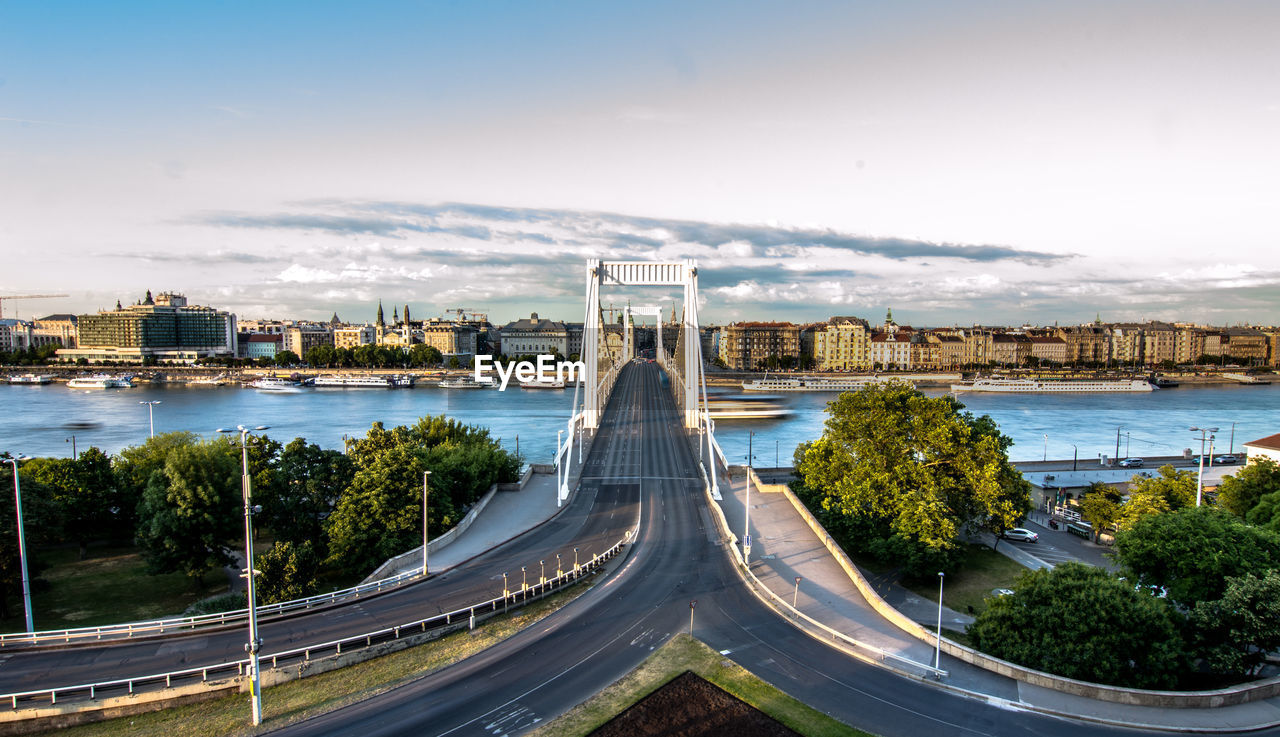 HIGH ANGLE VIEW OF BRIDGE AGAINST CLOUDY SKY