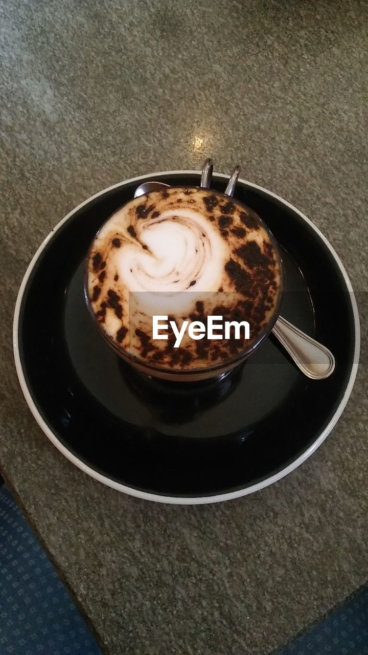coffee cup, coffee - drink, drink, refreshment, frothy drink, food and drink, high angle view, saucer, cappuccino, indoors, table, no people, froth art, close-up, freshness, day