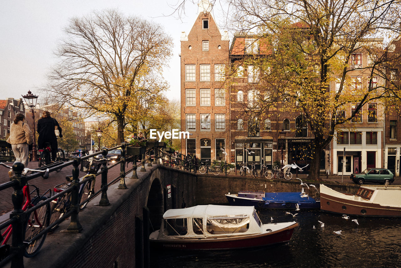 building exterior, nautical vessel, architecture, mode of transportation, tree, transportation, built structure, water, canal, plant, city, building, nature, incidental people, moored, day, bare tree, residential district, branch, outdoors