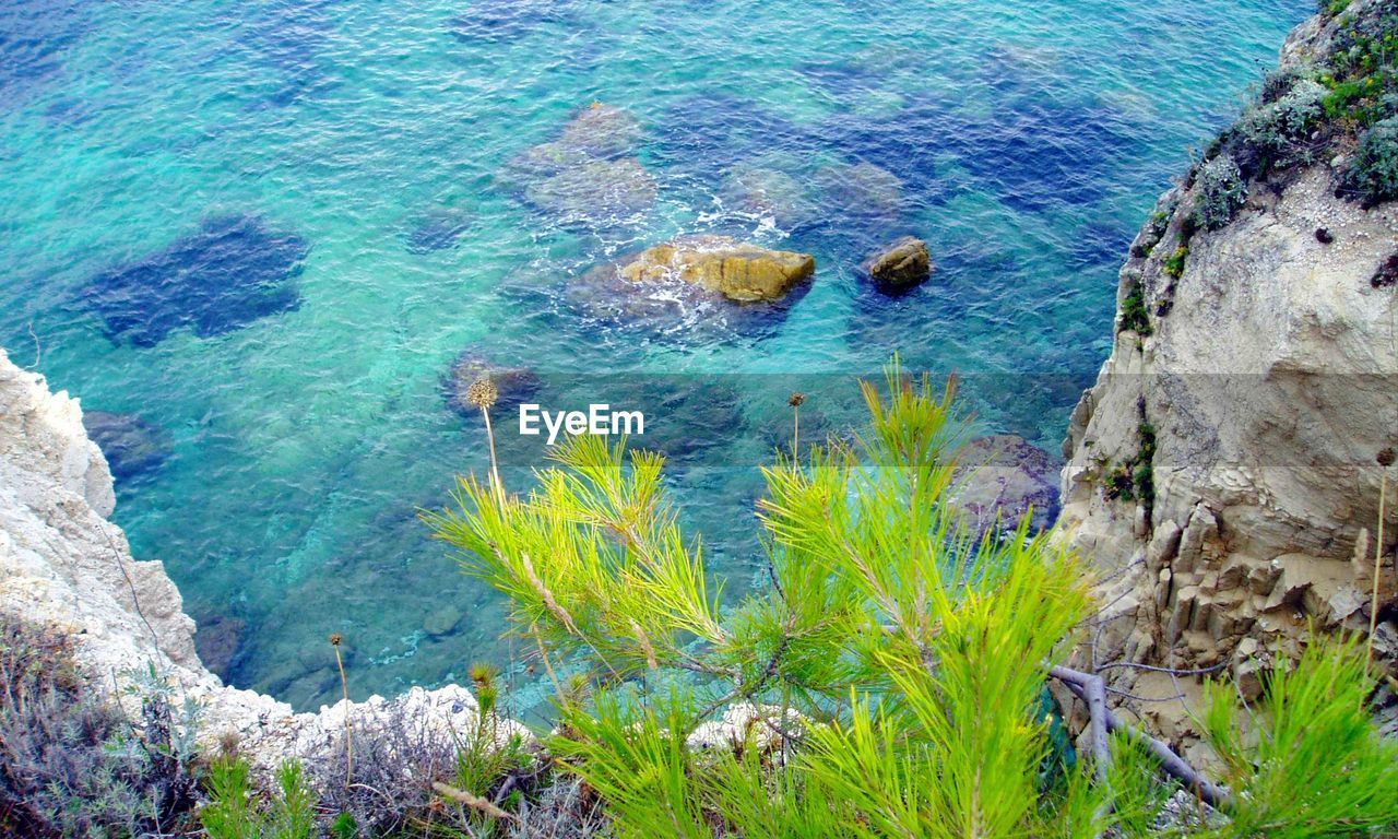 high angle view, nature, rock - object, water, day, scenics, outdoors, beauty in nature, no people, sea, tranquil scene, grass, blue, tree
