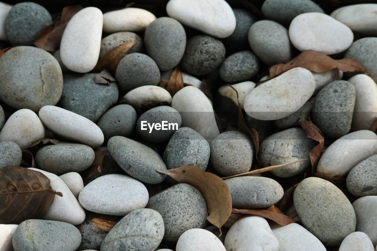 Full Frame Shot Of Pebbles And Dry Leaves