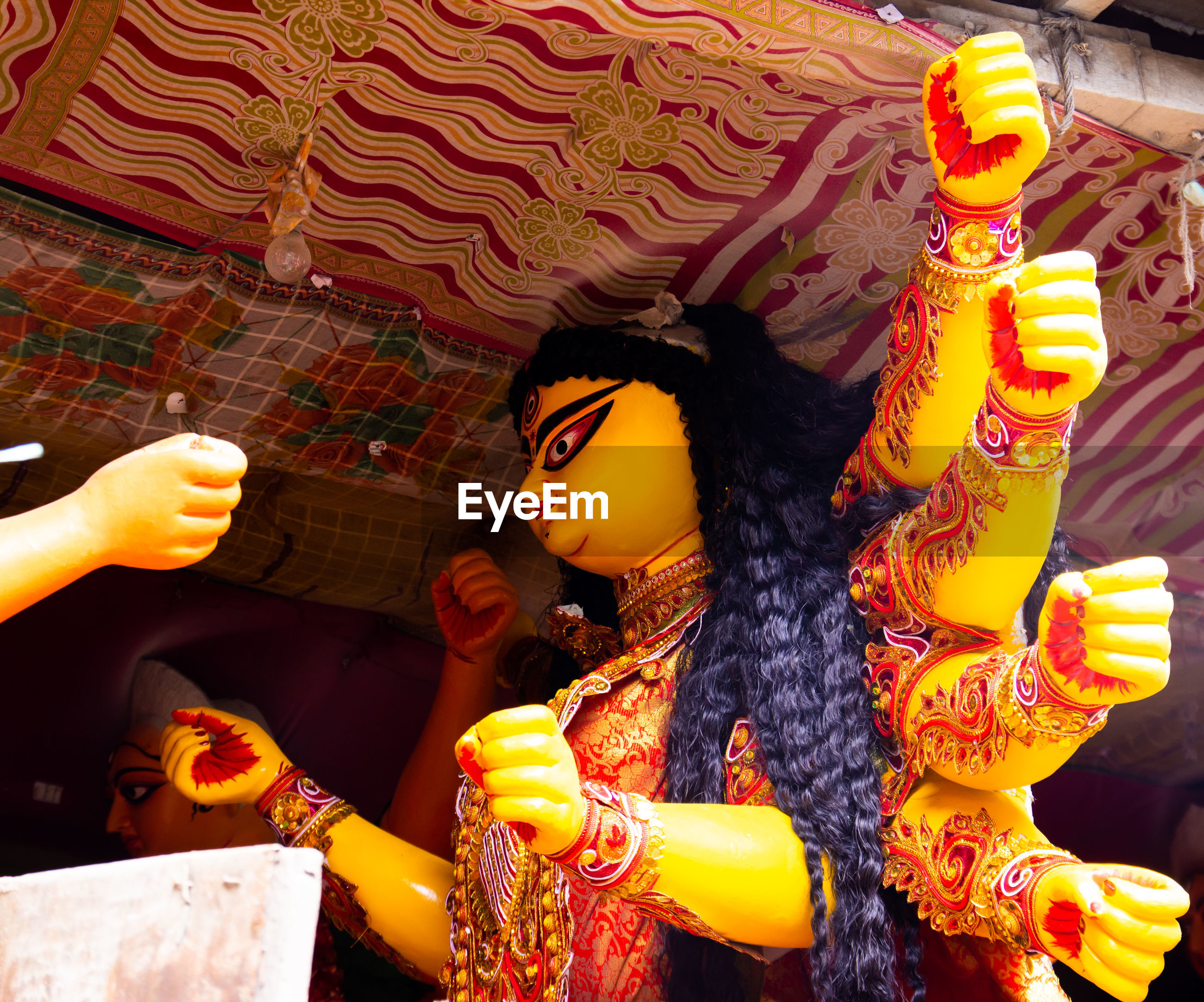 Low angle view of durga statues