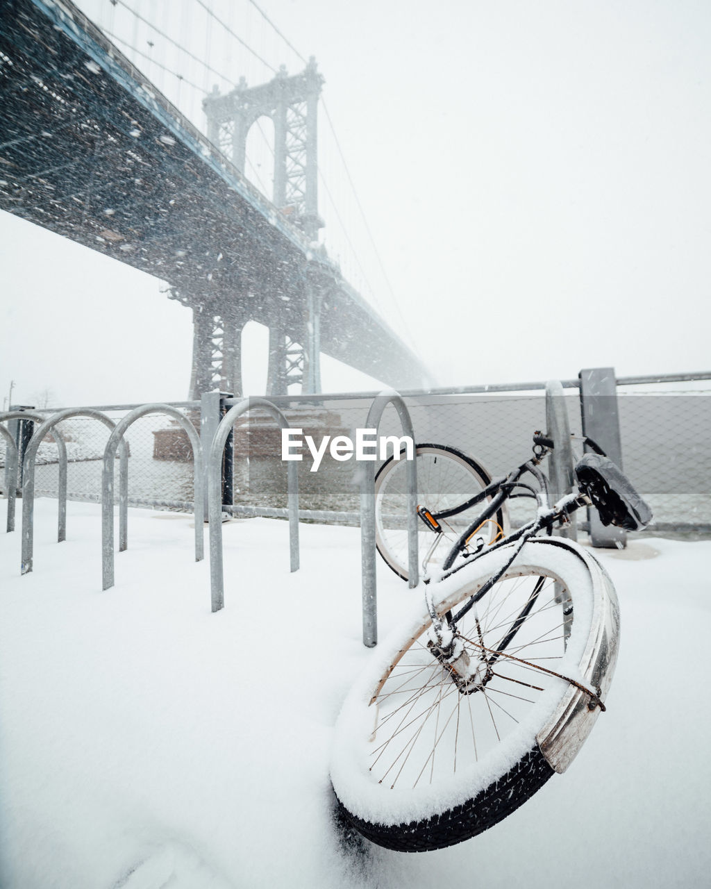 Bicycle Covered In Deep Snow