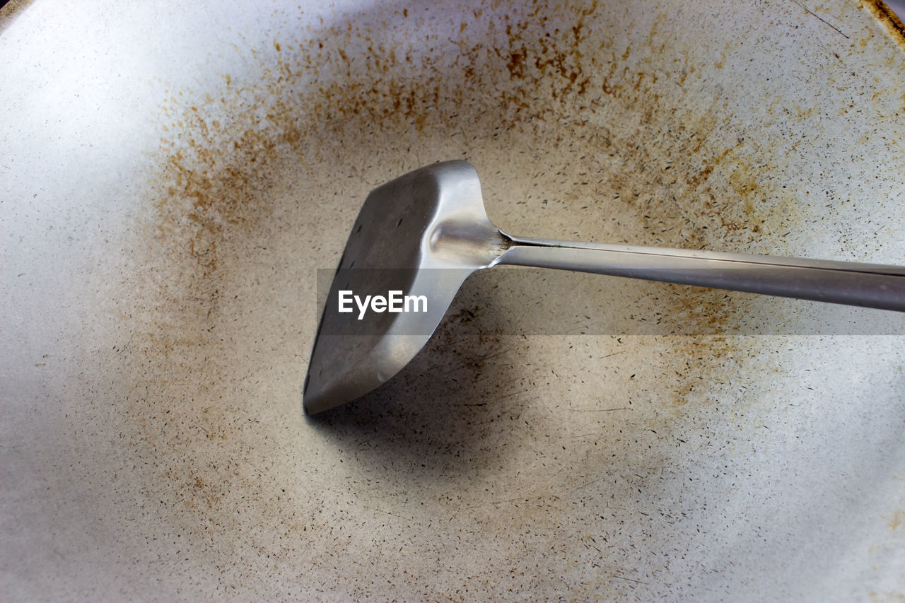 High angle view of cooking utensils