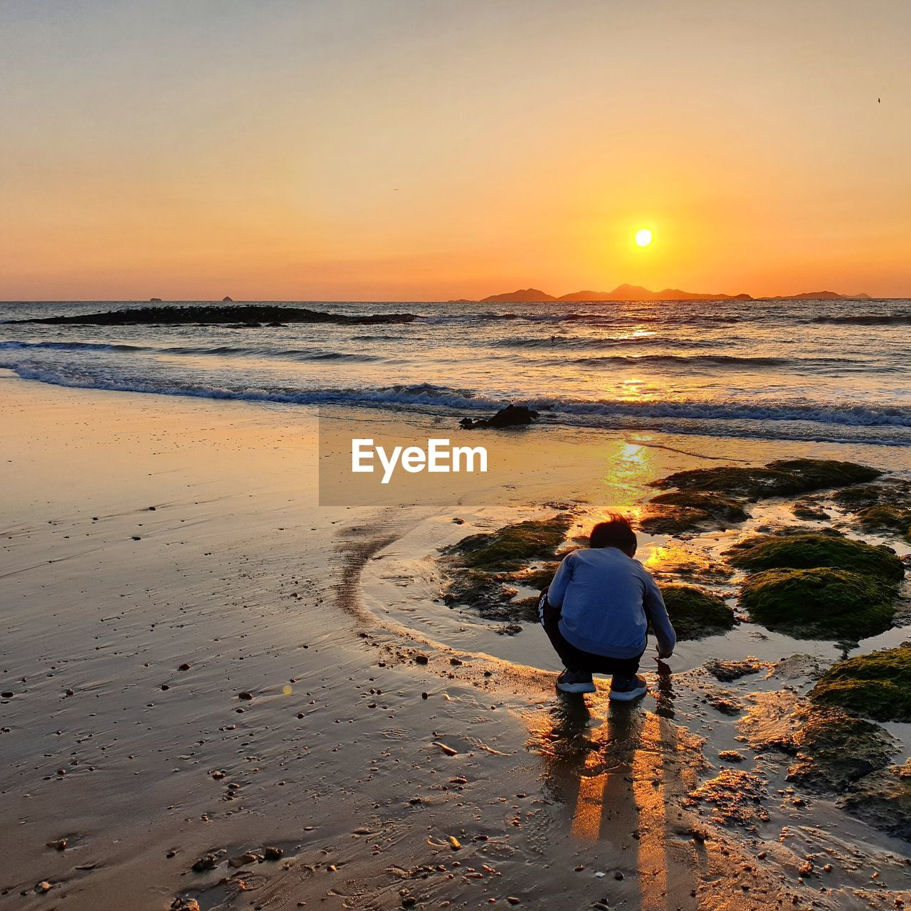 Rear view of boy crouching at beach during sunset