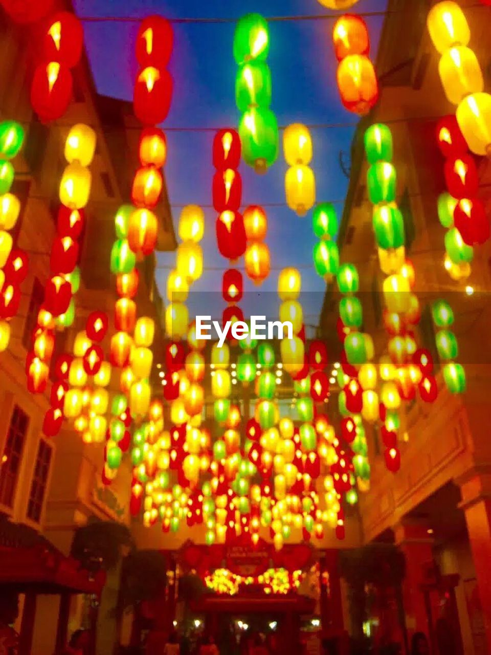 illuminated, night, no people, low angle view, multi colored, built structure, hanging, nightlife, indoors, architecture, neon, close-up
