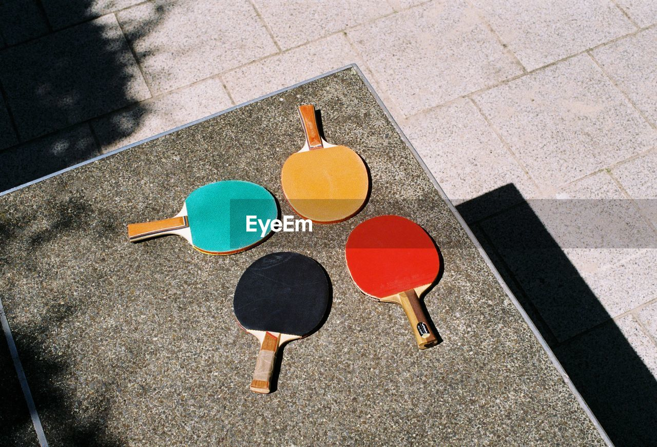 High Angle View Of Table Tennis Rackets