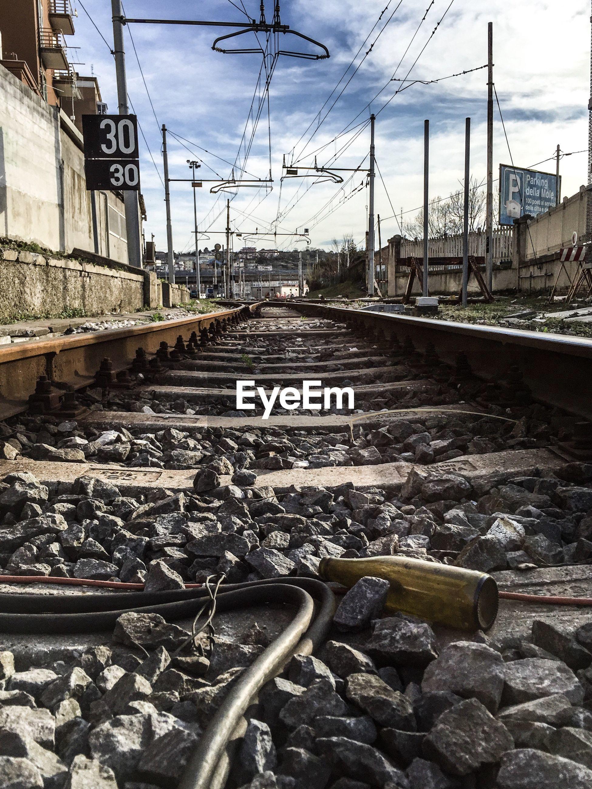 transportation, railroad track, rail transportation, sky, mode of transport, no people, day, cable, cloud - sky, public transportation, outdoors