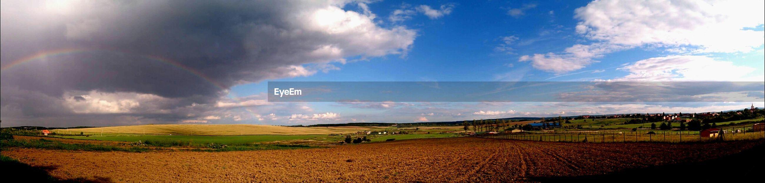 Panoramic view of plowed field