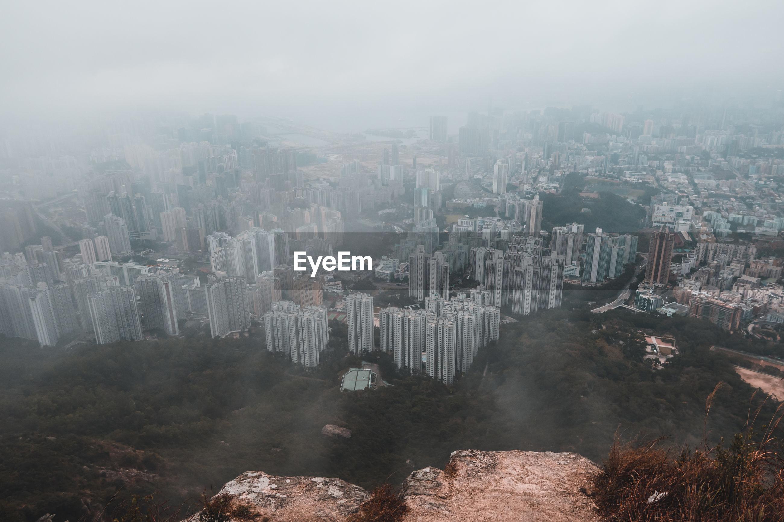 Hong kong city seen from lion rock peak