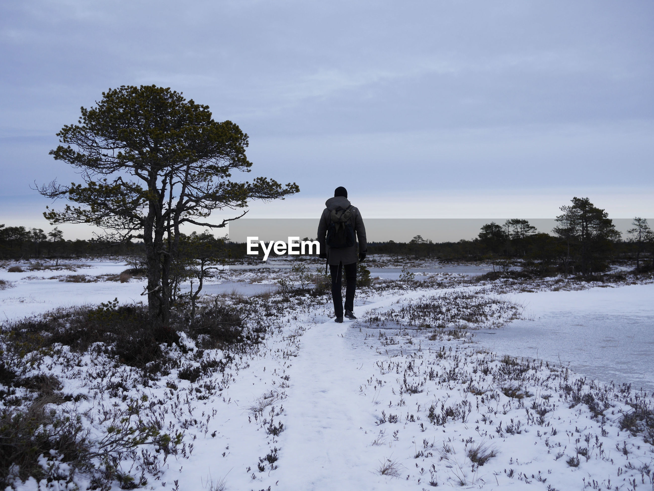 Rear view of man hiking on snow during sunset