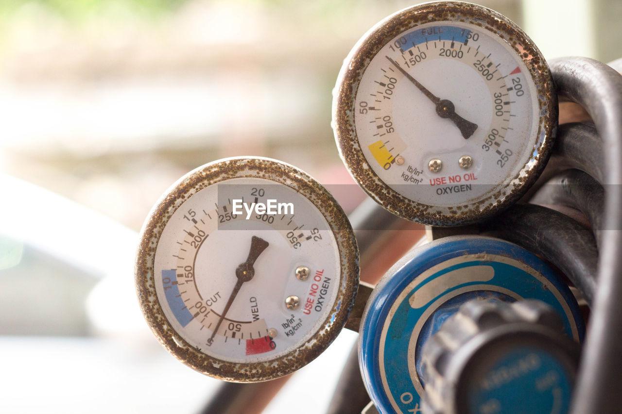 Close-up of pressure gauges