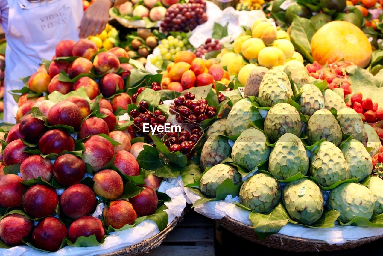 High Angle View Of Fresh Fruits At Market Stall