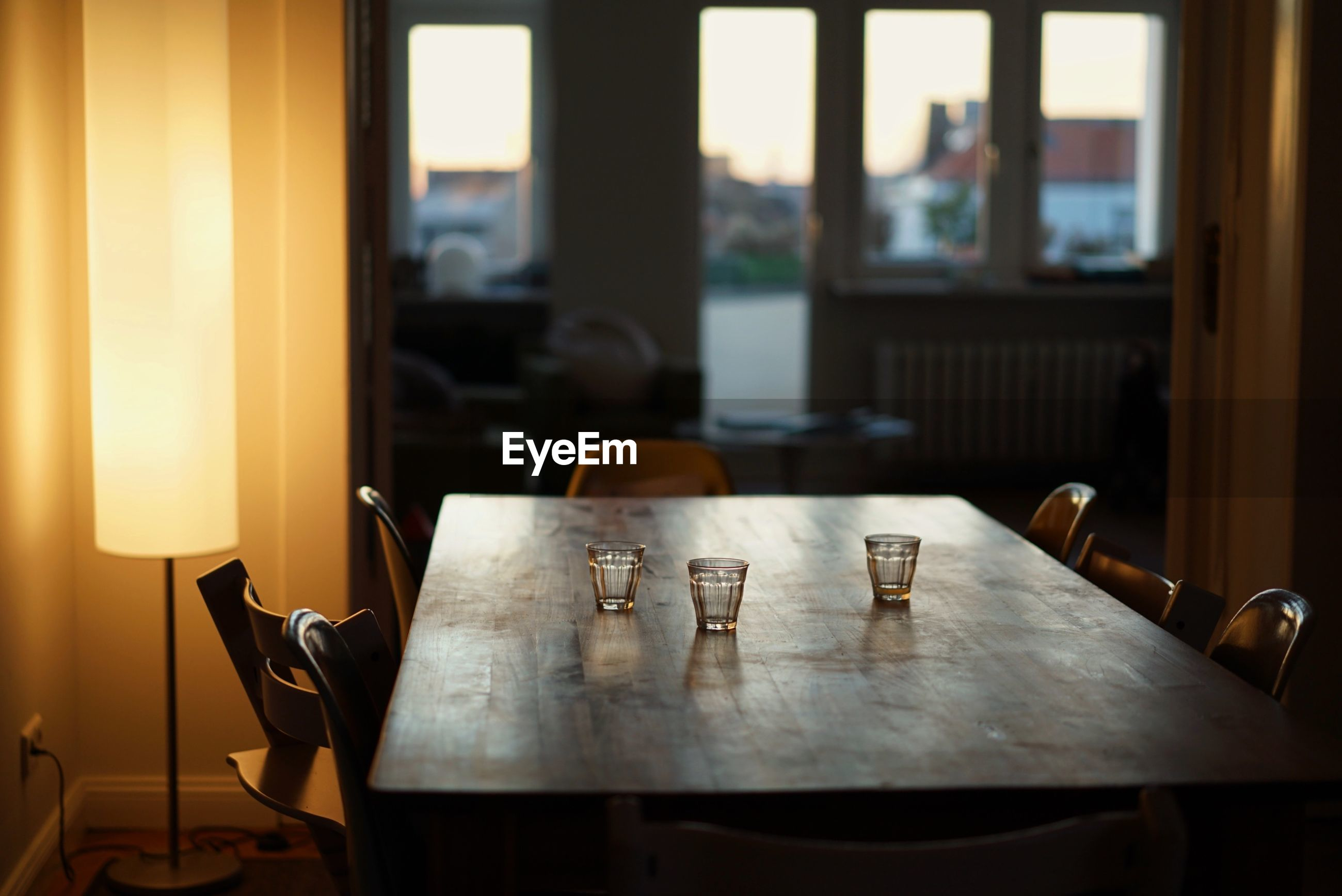 Empty glasses on table at cafe