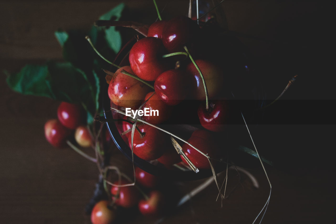 food and drink, food, healthy eating, fruit, red, wellbeing, close-up, indoors, freshness, still life, no people, cherry, table, focus on foreground, high angle view, vegetable, selective focus, nature, tomato, ripe