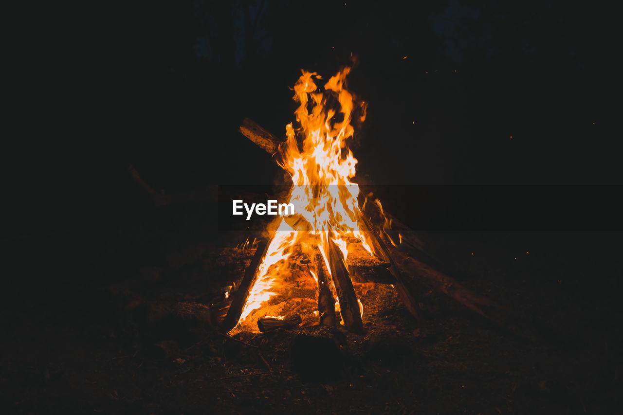 Burning Campfire In Dark At Night