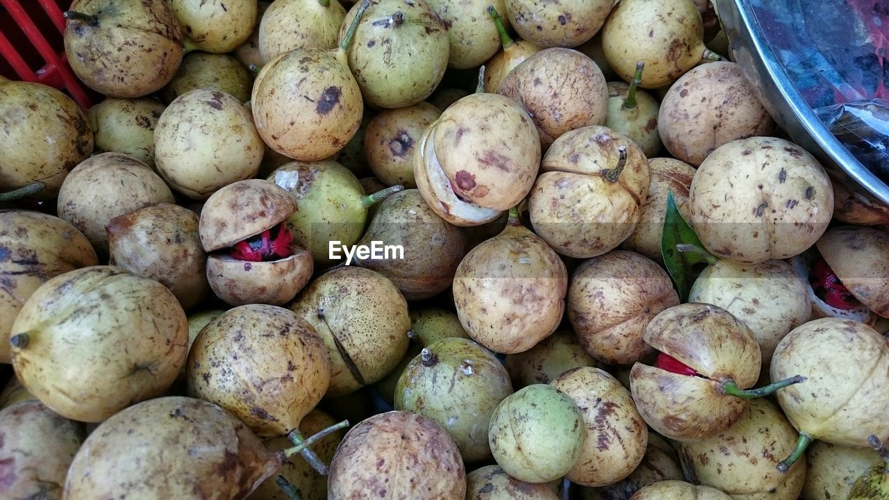 High Angle View Of Nutmegs At Market For Sale