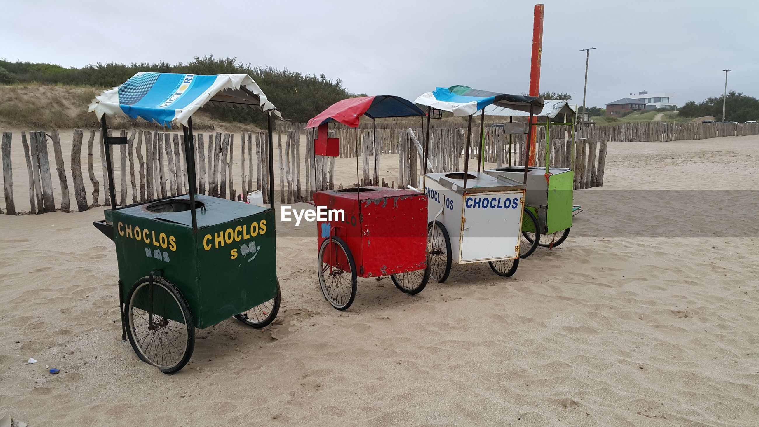 High angle view snack stand on beach