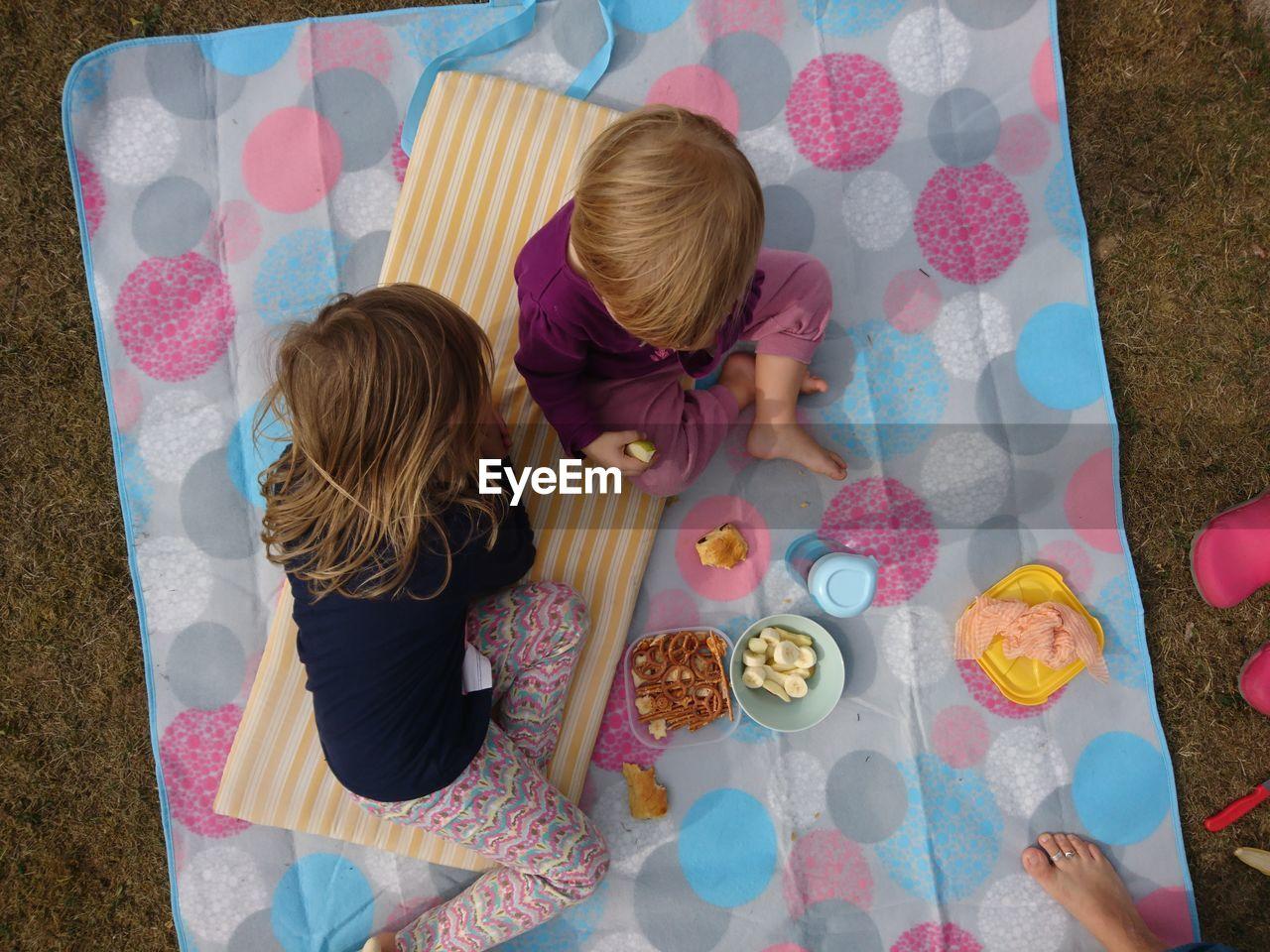 Directly Above Shot Of Children Having Food