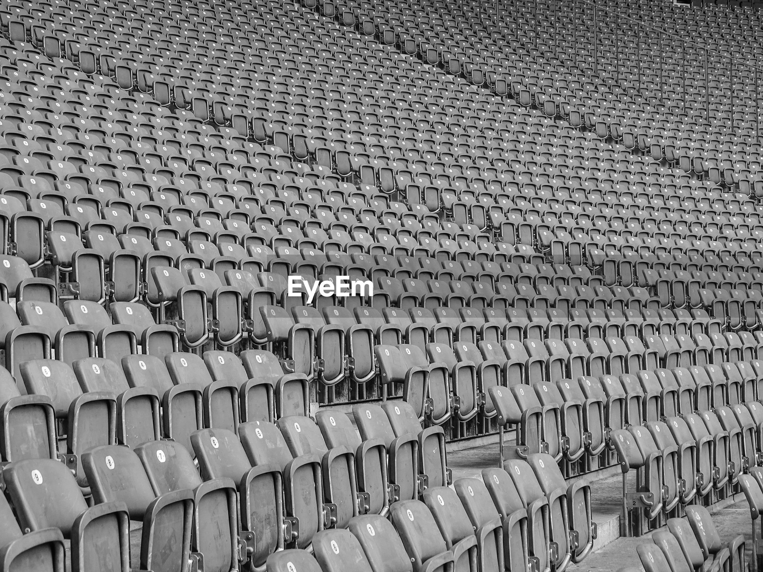 Shot of empty bleachers at stadium