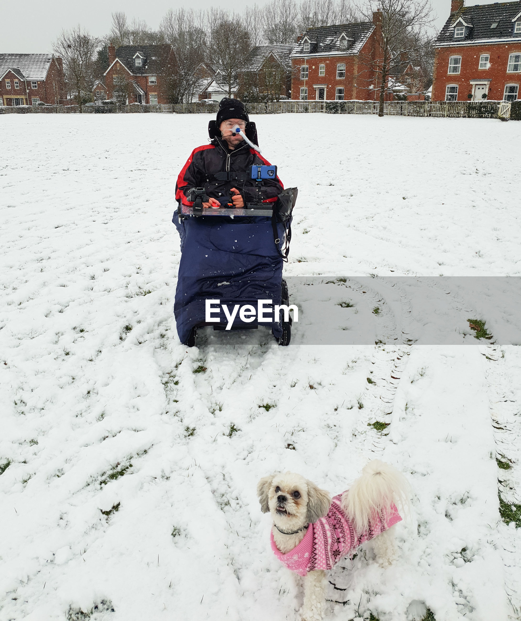 winter, snow, cold temperature, warm clothing, pets, one animal, real people, domestic animals, domestic, canine, dog, leisure activity, clothing, animal themes, field, front view, mammal, lifestyles, day, outdoors