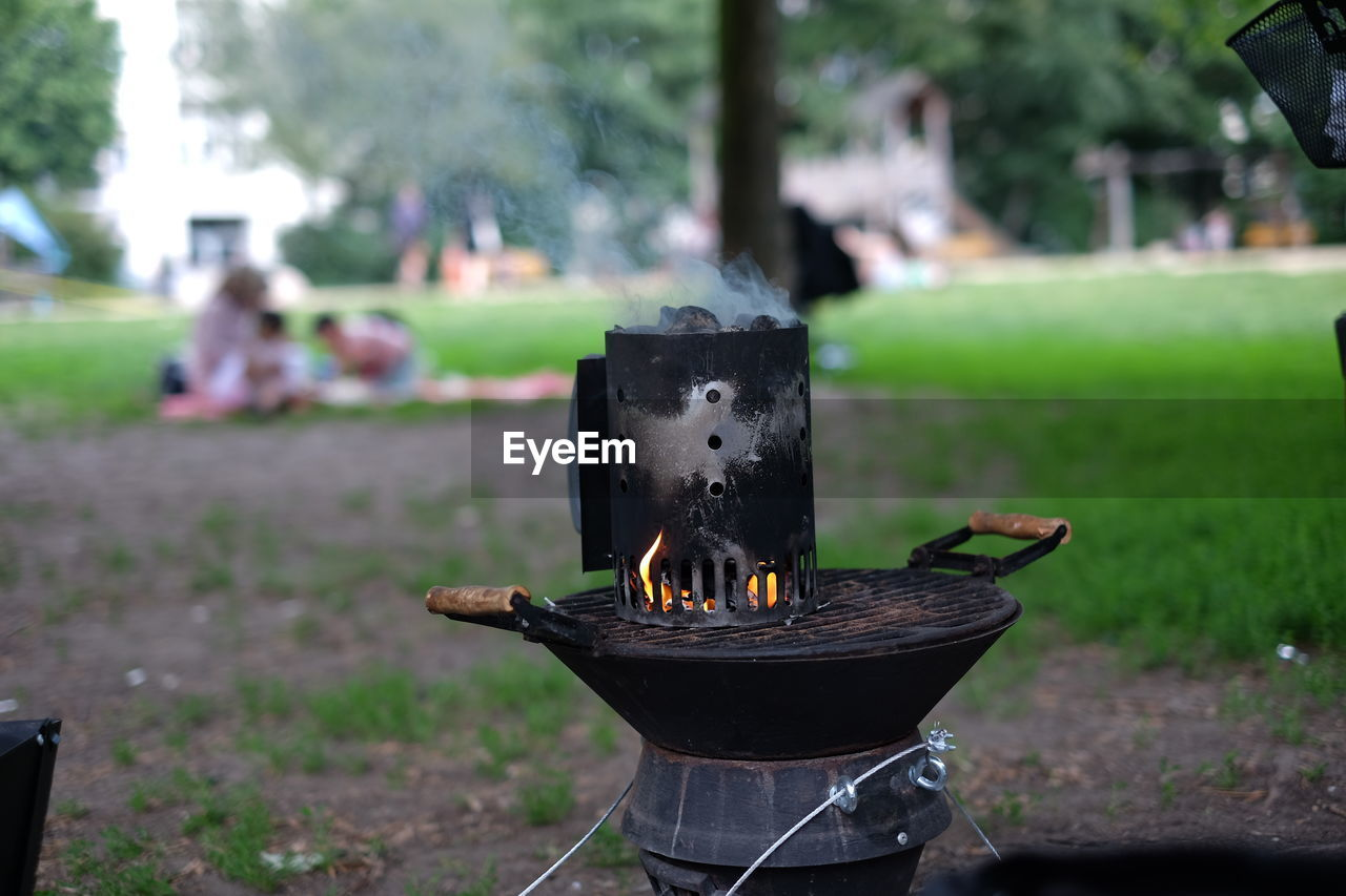 Fromt View Of Barbecue Grill In Public Park