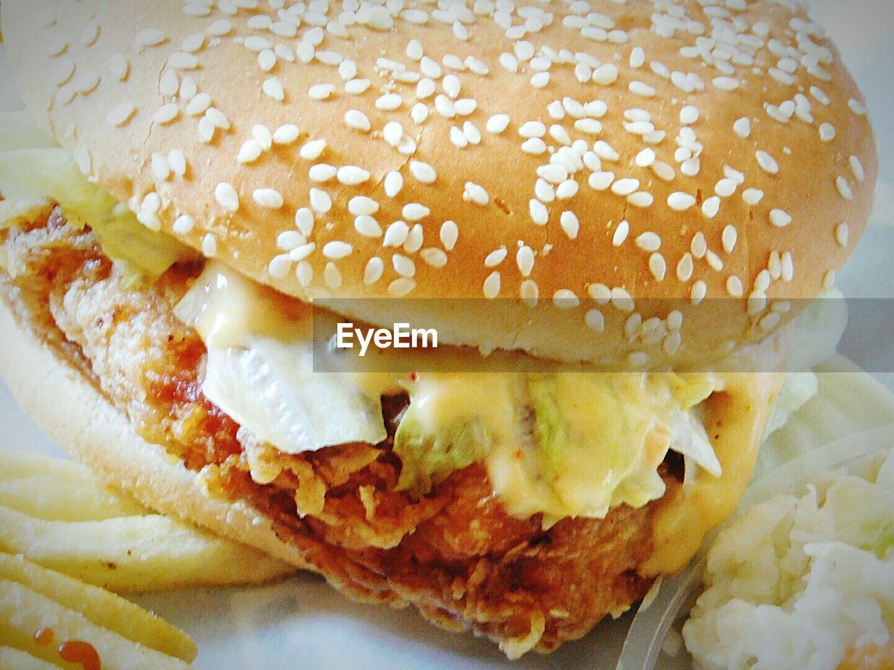 food and drink, burger, food, unhealthy eating, bun, indoors, close-up, ready-to-eat, hamburger, indulgence, no people, freshness, fast food, day