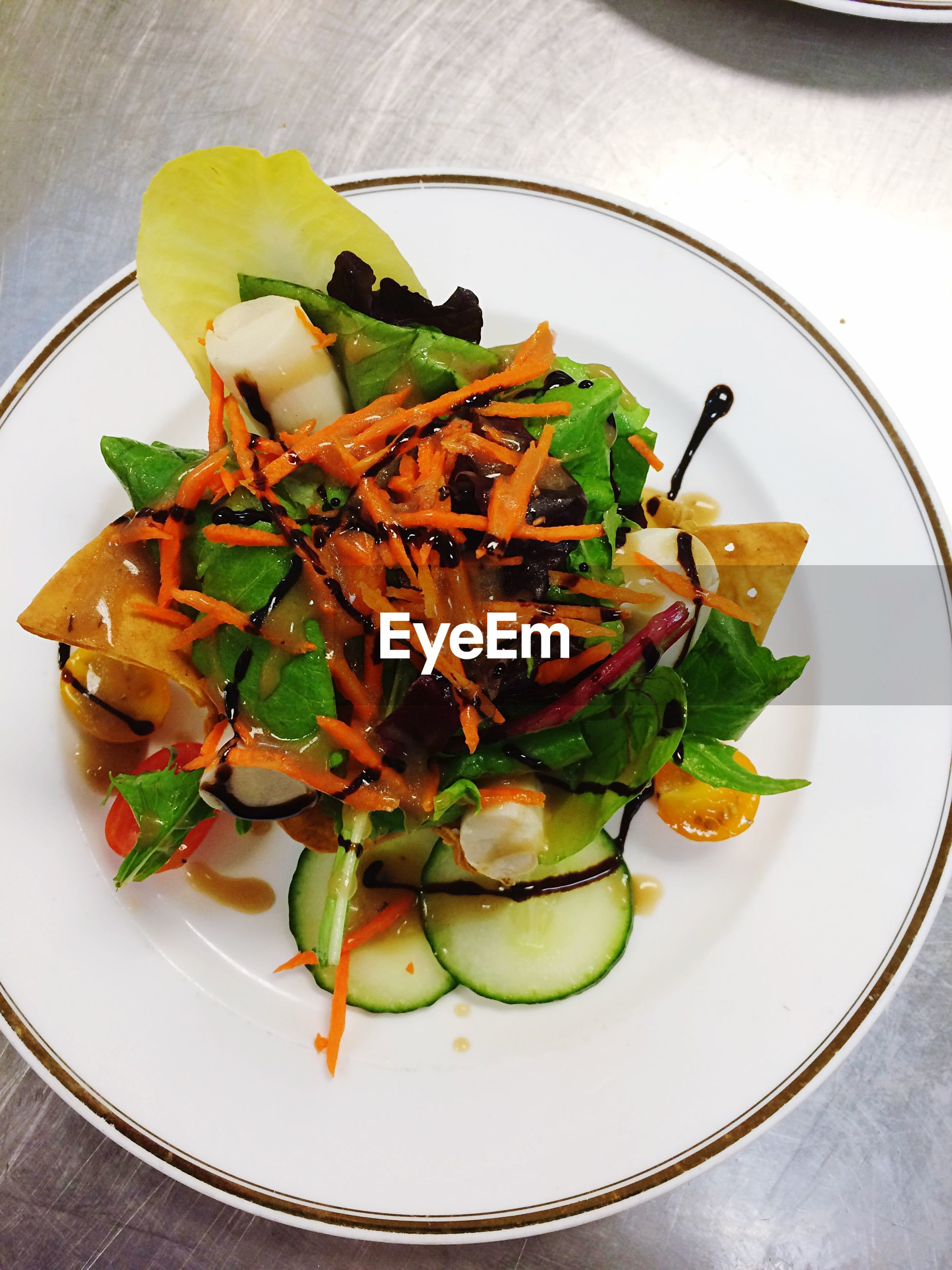 High angle view of salad served in plate on table