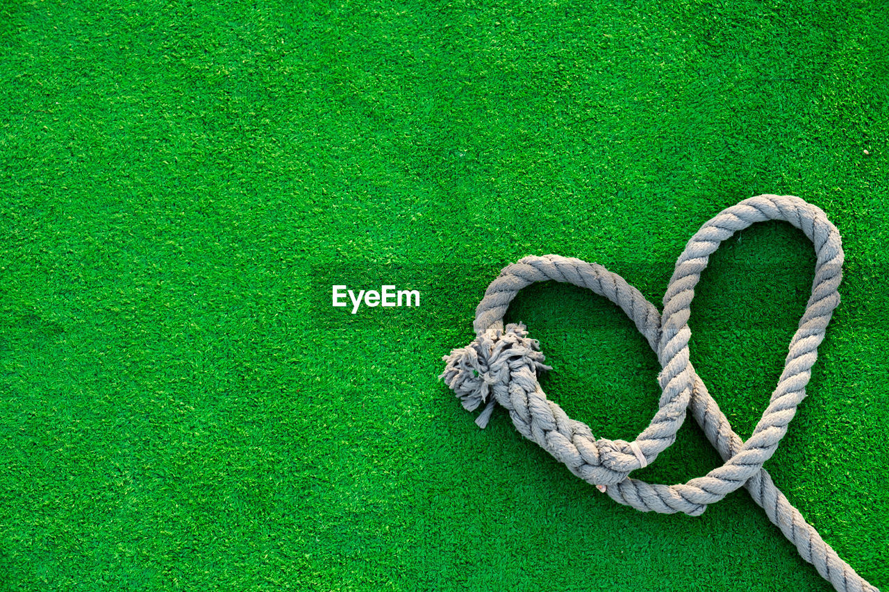 Close-Up Of A Rope On Green Surface